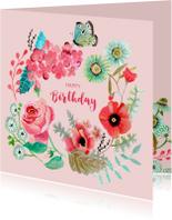 Verjaardagskaarten - Felicitatie Verjaardag Bloemen krans