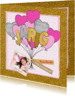 Verjaardagskaarten - Felicitatie verjaardagskaart glitter en glamour en ballonnen
