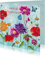 Verjaardagskaarten - Felicitatie Vrolijke Bloemen