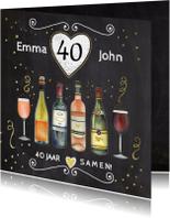 Felicitatiekaarten - Felicitatie wijn krijtbord