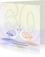 Felicitatiekaarten - Felicitatie zwaan diamant geel
