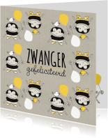 Felicitatiekaarten - Felicitatie zwanger aapje met ballon geel & Kraft - MW