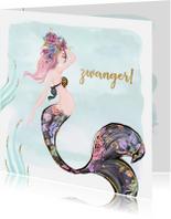 Felicitatiekaarten - Felicitatiekaart zwangerschap met zeemeermin in waterverf