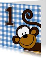 Felicitatiekaart 1 jaar met aap