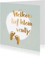 Felicitatiekaarten - felicitatiekaart geboorte met gouden voetjes