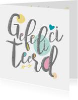 Verjaardagskaarten - Felicitatiekaart in frisse tinten in handletter stijl