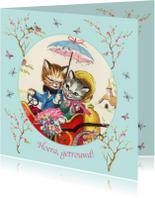 Felicitatiekaarten - Felicitatiekaart met verliefde kittens