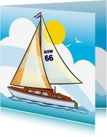 Felicitatiekaarten - Felicitatiekaart  pensioen zeilboot met tekst AOW 66