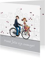 Felicitatiekaarten - Felicitatiekaart transportfiets zwanger