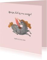 Felicitatiekaarten - Felicitatiekaart Unicorn Meisje