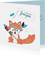 Felicitatiekaarten - Felicitatiekaart vos geboorte zoon