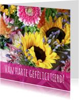 Verjaardagskaarten - Felicitatiekaart vrolijk boeket