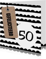 Verjaardagskaarten - Felicitatiekaart zwart wit kraft met leeftijd
