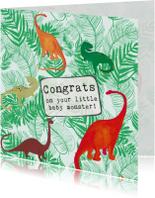 Felicitatiekaarten - Felicitatiekaartje geboorte Dino