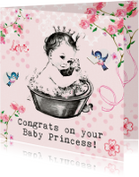 Felicitatiekaarten - Felicitatiekaartje geboorte met baby prinsesje in bad