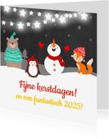 Kerstkaarten - Fijne kerstdagen Sneeuwman