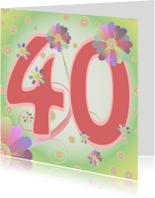 Verjaardagskaarten - flowerpower-40jaar