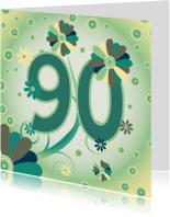 Verjaardagskaarten - flowerpower2 90 jaar