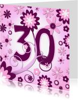 Verjaardagskaarten - flowerpower3 - 30 jaar