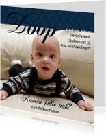 Doopkaarten - Foto 4kant Doop Blauw - BK