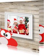 Kerstkaarten - Foto kerstkaart gezin hout