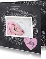 Geboortekaartjes - Foto krijtbord meisje