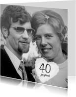 Jubileumkaarten - Foto uitnodiging 40 jaar getrouwd met wolk hart