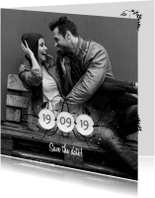 Trouwkaarten - Fotokaart datum sier A RB