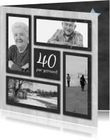 Jubileumkaarten - fotokaart jubileum grijs hout