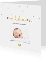 Geboortekaartjes - Fotokaart met gouden letters