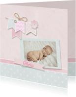 Geboortekaartjes - Fotokaart pastel krijt