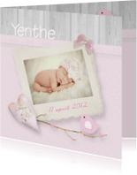 Geboortekaartjes - fotokaart romantisch vogel takje