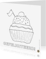 Kleurplaat kaarten - Gebakje voor je verjaardag