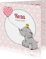 Geboortekaartjes - Geboorte baby olifantje kroon-IH