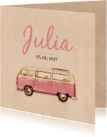 Geboortekaartjes - Geboorte busje roze retro - BK