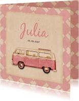 Geboortekaartjes - Geboorte busje roze retro patroon - BK