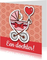 Felicitatiekaarten - Geboorte dochter - kinderwagen