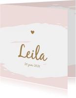 Geboortekaartjes - Geboorte - Eenvoudig watercolour roze