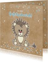 Felicitatiekaarten - Geboorte felicitatie grappige kaart met stoere leeuw