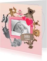 Geboortekaartjes - Geboorte Fotokaart - Meisje Dier