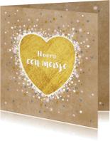Felicitatiekaarten - Geboorte goud hart en vele hartjes sterretjes en bloemen