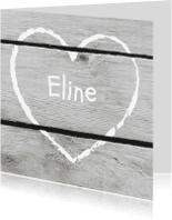 Geboortekaartjes - Geboorte hart krijt hout print