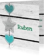 Geboortekaartjes - Geboorte Hout ster harten print