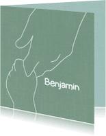 Geboortekaartjes - Geboorte jongen getekende handen