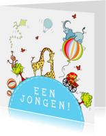 Felicitatiekaarten - Geboorte jongen vrolijke bol