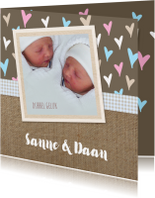 Geboortekaartjes - Geboorte Jute hartjes twins
