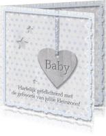 Felicitatiekaarten - Geboorte kleinzoon - houten hart