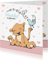 Geboortekaartjes - Geboorte leeuwtje met vogel - IH