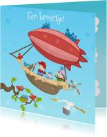 Geboortekaartjes - geboorte luchtballon jongen-JB