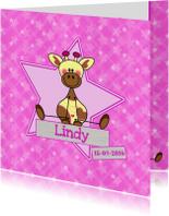Geboortekaartjes - geboorte meisje giraffe roze
